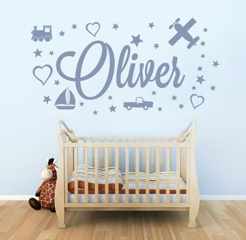 Boys Stars Hearts with Name Wall Sticker - Wall Chick