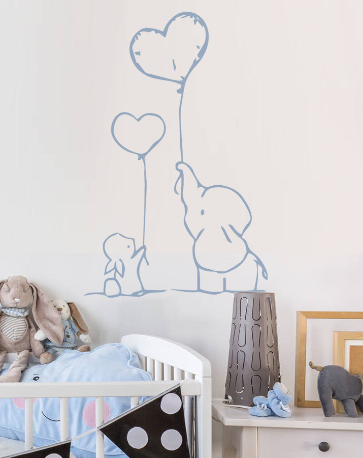 Bunny & Elephant with Balloons Wall Sticker