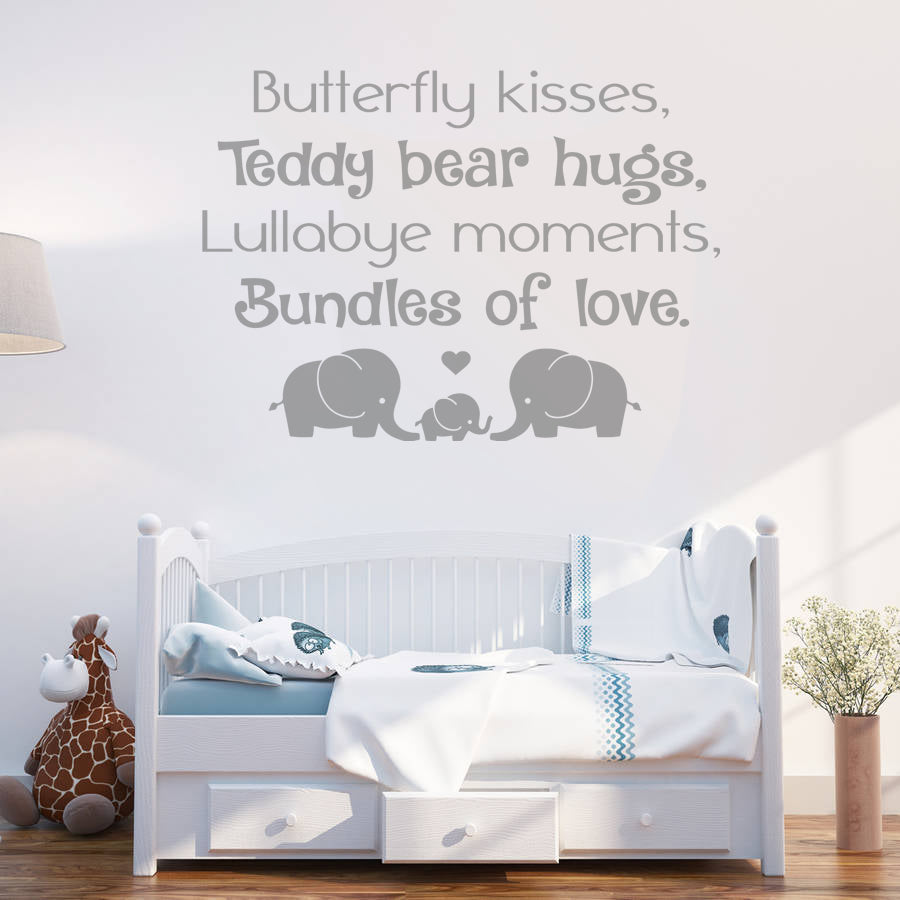 Butterfly Kisses, Teddy Bear Hugs Wall Sticker