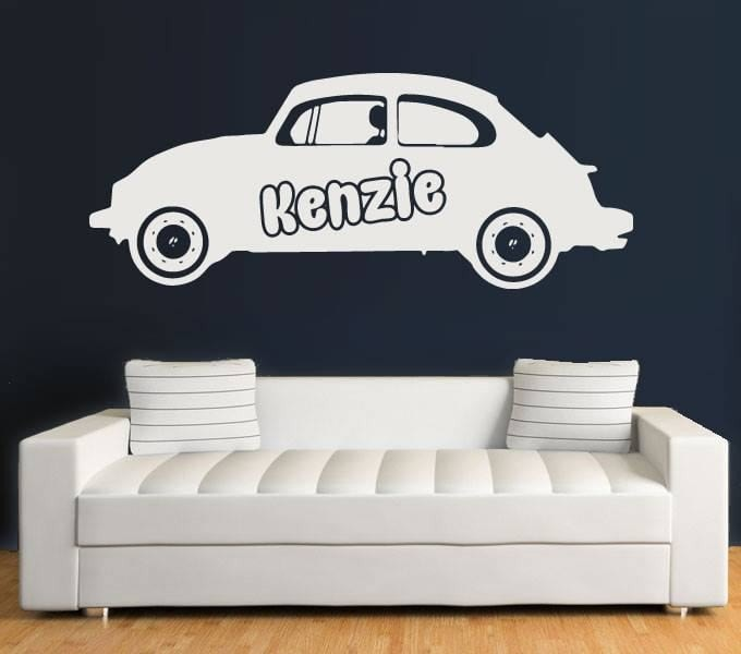 Beatle With Name Wall Sticker - Wall Chick