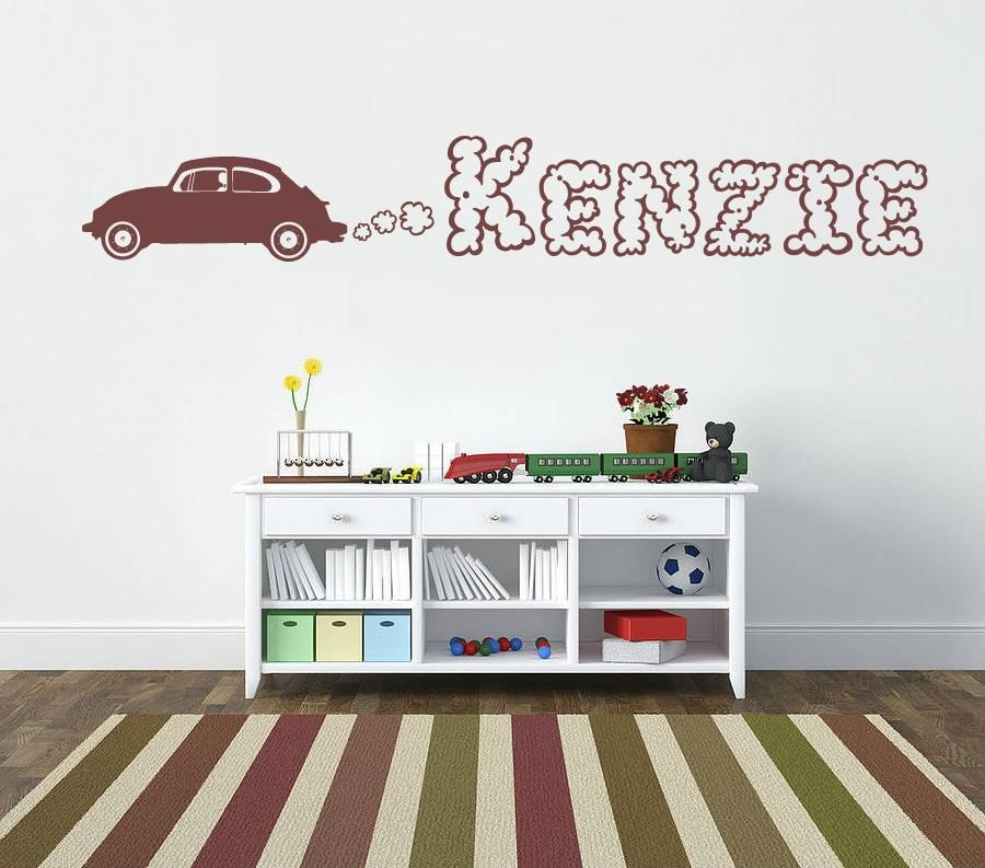 Car With Smoke Name Wall Sticker - Wall Chick