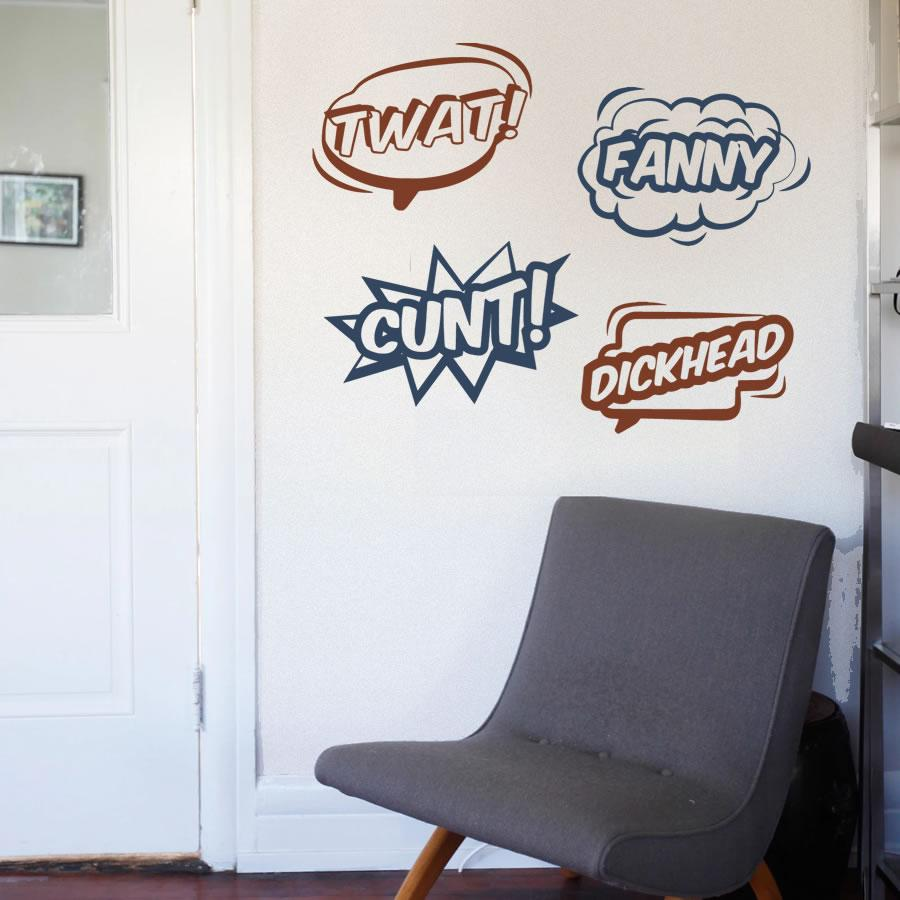 Comically Insulting Wall Stickers 4 pack.