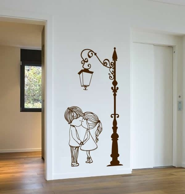 Cute Couple with Lamp Post Wall Sticker Wall Sticker - Wall Chick