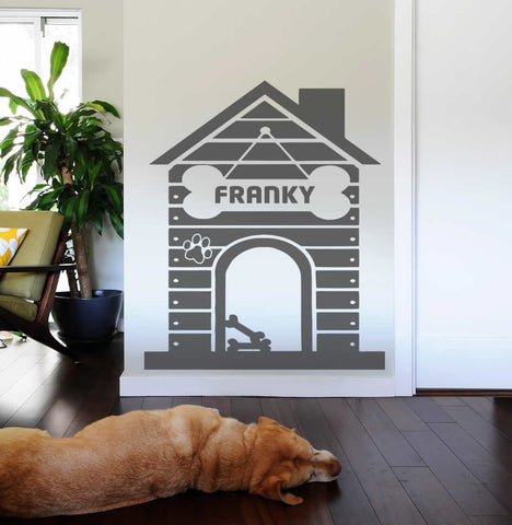 Dog House with Name Wall Sticker
