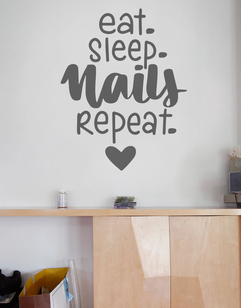 Eat Sleep Nails Repeat Wall Sticker