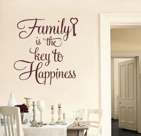 Family Is The Key To Happiness Wall Sticker Wall Sticker - Wall Chick