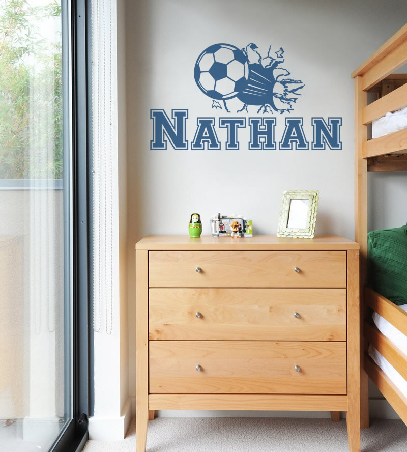 Football Hole with Name Wall Sticker