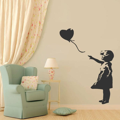 Banksy - Girl with Heart Balloon Wall Sticker - Wall Chick