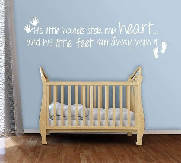 His Little Hands Stole My Heart Wall Sticker - Wall Chick