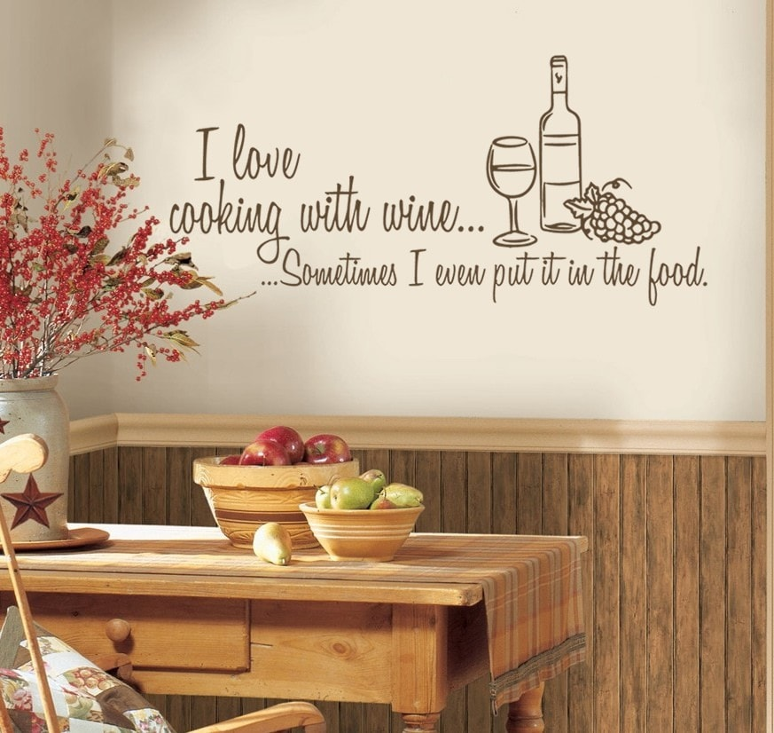 I Love Cooking With Wine Wall Sticker - Wall Chick