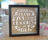 Personalised I Love You To the Moon and Back Glitter Frame