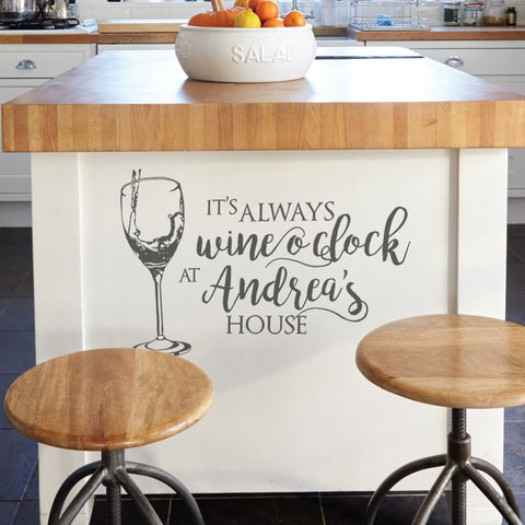 Its Always Wine O Clock Wall Sticker Personalised