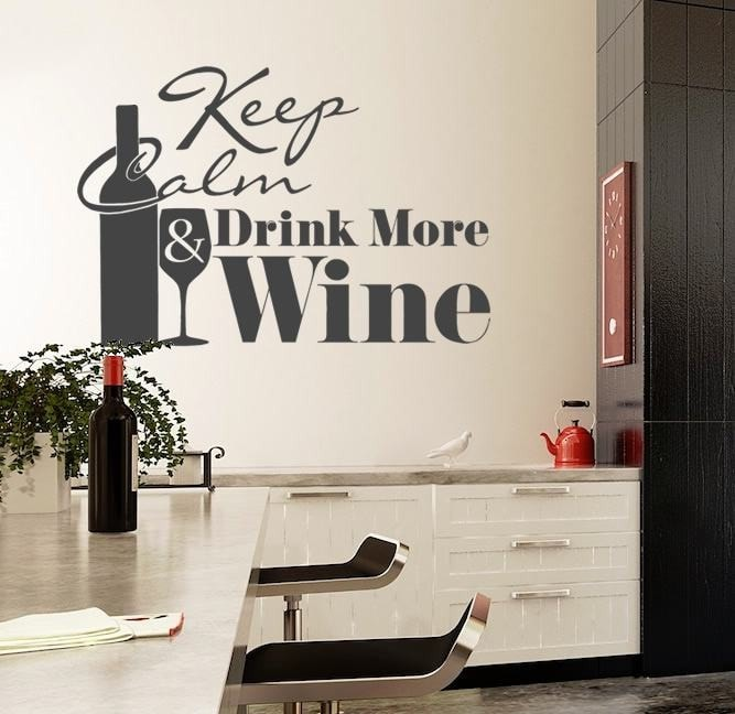 Keep Calm and Drink Wine Wall Sticker - Wall Chick