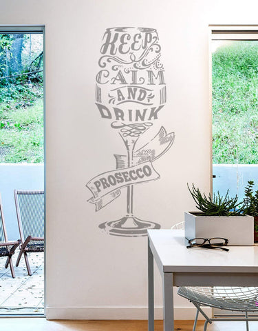 Keep Calm Wine Glass Wall Sticker