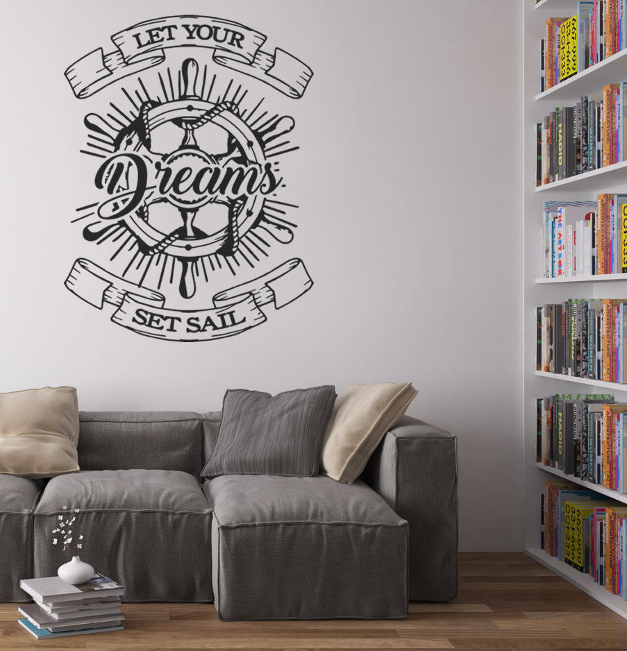 Let Your Dreams Set Sail Wheel Wall Sticker