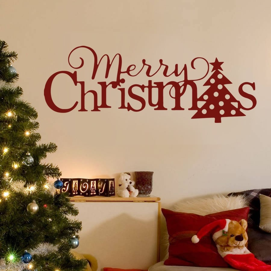 Merry Christmas Words Wall Sticker - Wall Chick