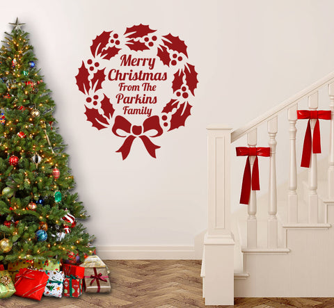 Merry Christmas Personalised Family Wreath Wall Sticker