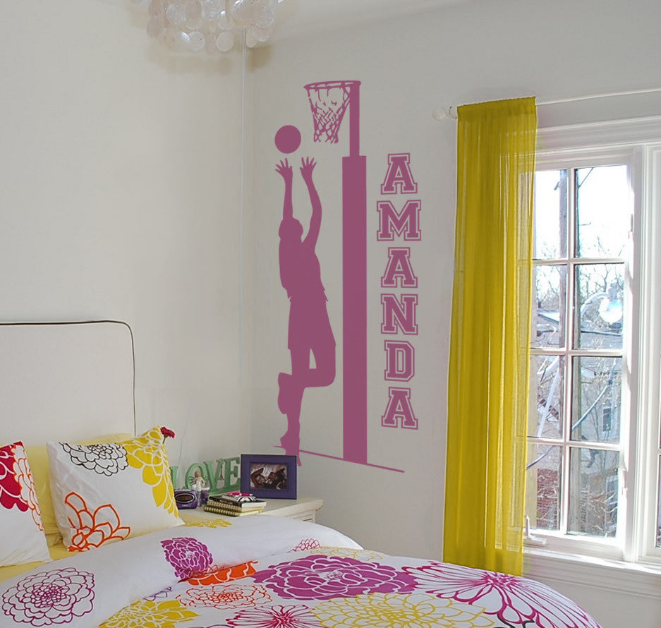 Netball with Name Tall Wall Sticker