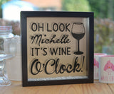 Personalised Oh Look Wine O'Clock Glitter Frame