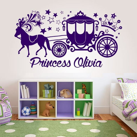 Princess Carriage with Name Wall Sticker - Wall Chick