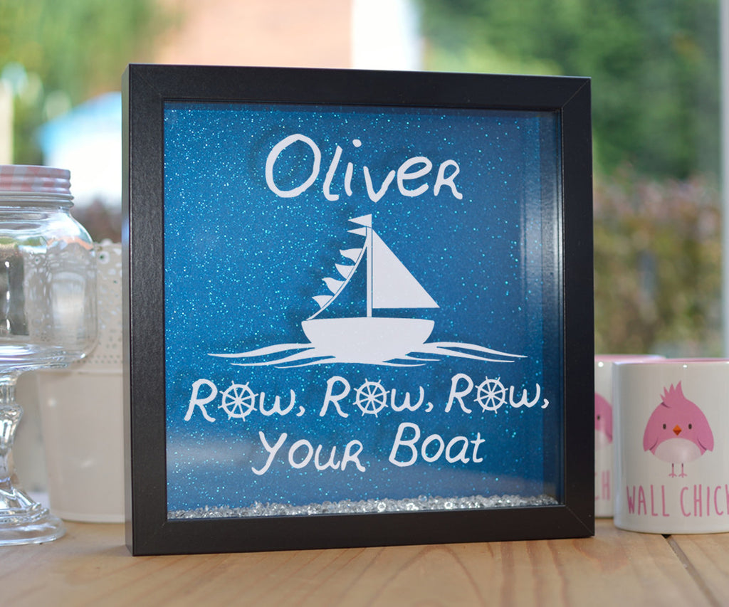 Personalised Row Your Boat Glitter Frame