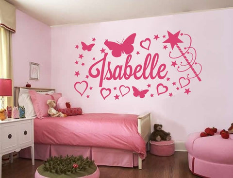 Stars & Hearts with Name Wall Sticker - Wall Chick