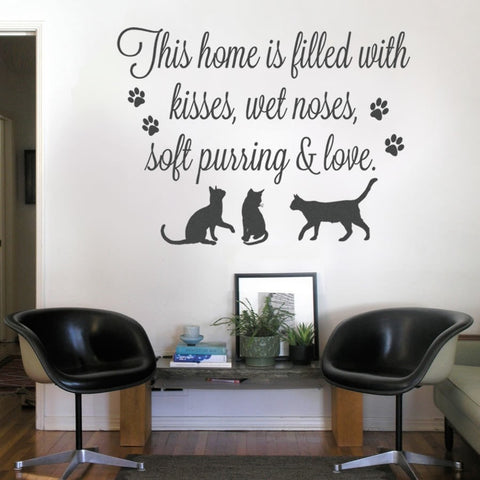 This Home Is Filled With Cats Wall Sticker - Wall Chick