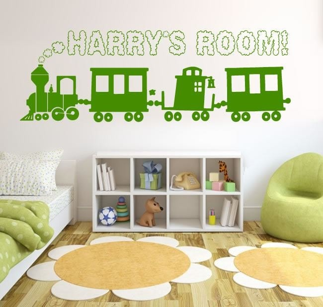 Train with Cloudy Name Wall Sticker - Wall Chick