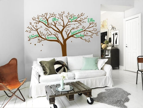 Tree With Names Two Colours Wall Sticker - Wall Chick