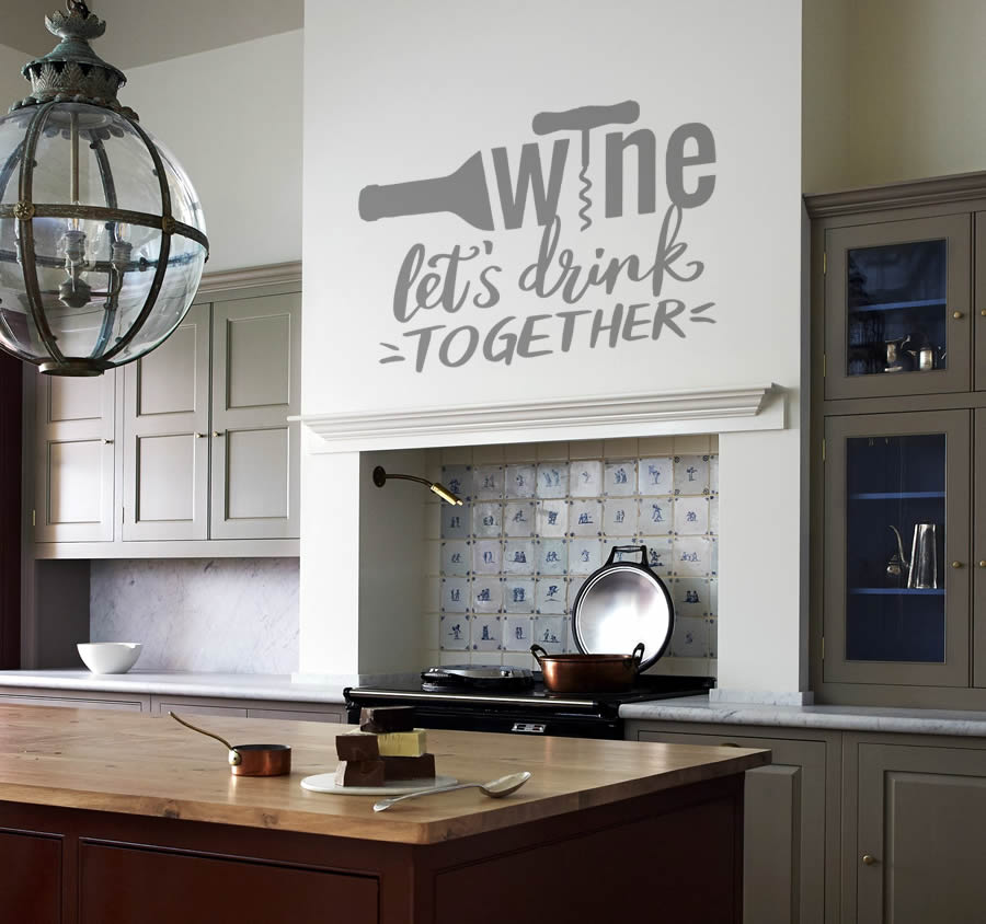 Wine - Lets Drink Together Wall Sticker