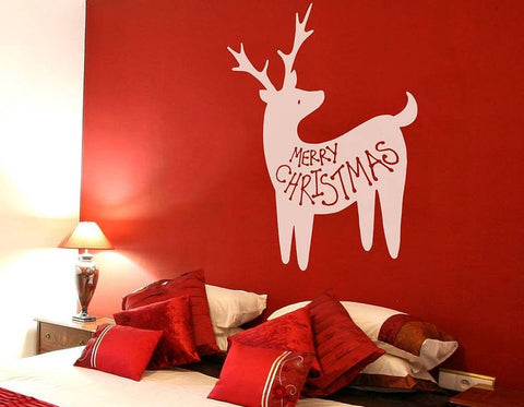 Merry Christmas Reindeer Wall Sticker - Wall Chick