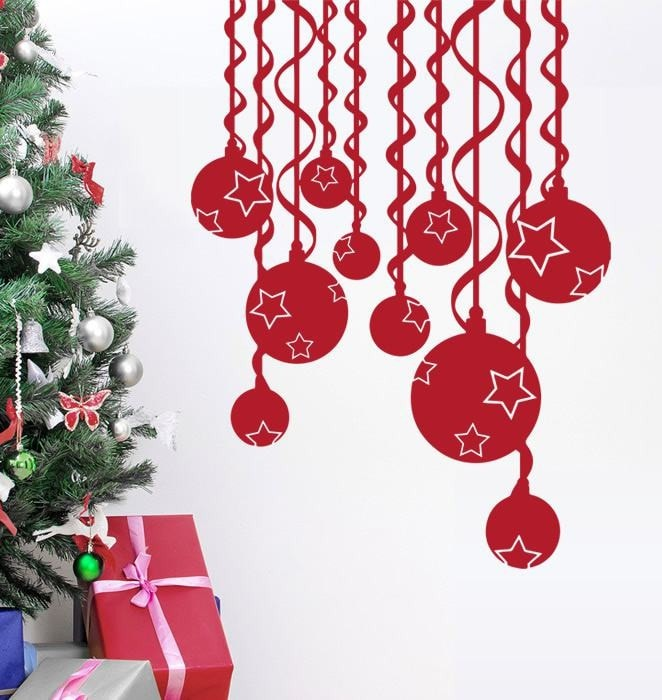 Christmas Star Baubles Wall Sticker - Wall Chick