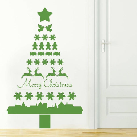 Merry Christmas Tree Wall Sticker - Wall Chick
