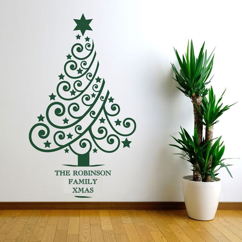 Personalised Christmas Tree Wall Sticker - Wall Chick