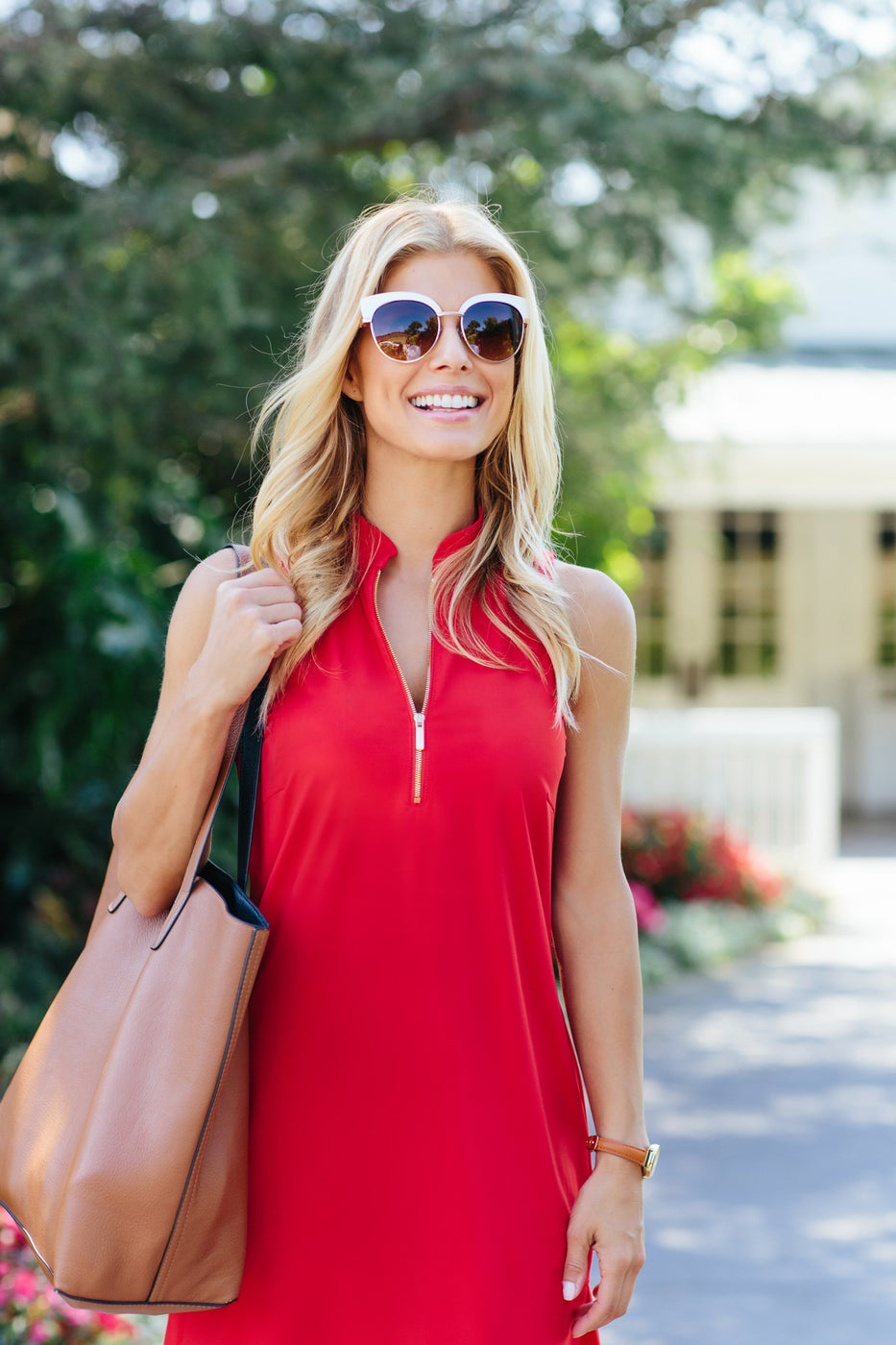 petite dress in red for golf or evening