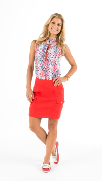 MONARCH BEACH PETITE GOLF SKORT - Red, White, Black, or Beige