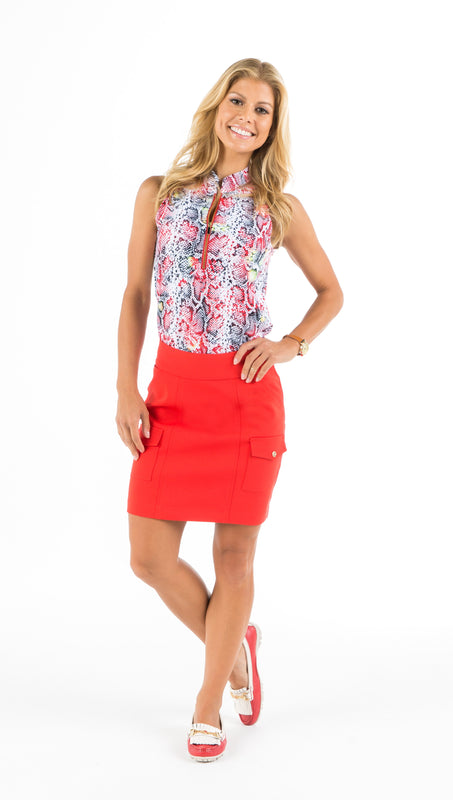 MONARCH BEACH PETITE GOLF SKORT - Red, Black, White or Beige
