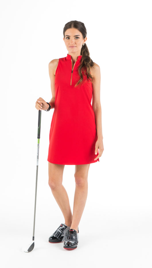 COURSE-TO-COCKTAILS SLEEVELESS PETITE SHIRTDRESS - Red - Spitfire Petite