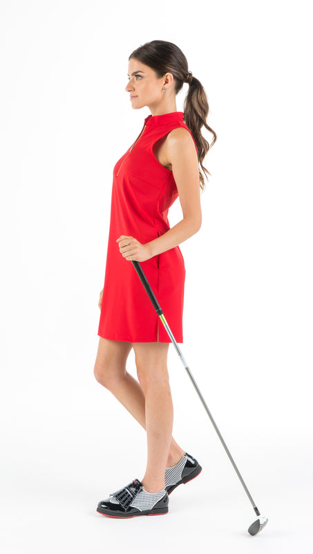 COURSE-TO-COCKTAILS SLEEVELESS SHIRTDRESS - Red - 2 LEFT - XS and XL - Spitfire Petite