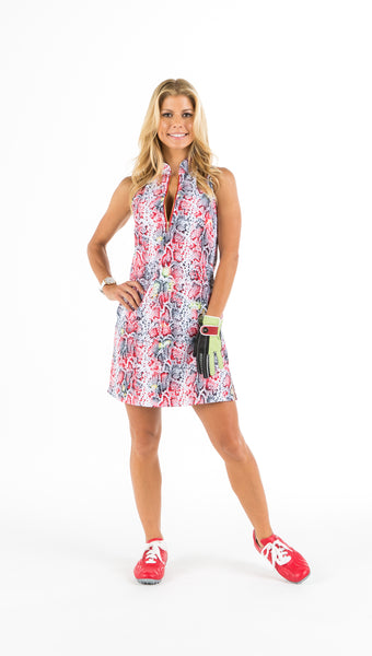 COURSE-TO-COCKTAILS SLEEVELESS PETITE SHIRTDRESS - Snake