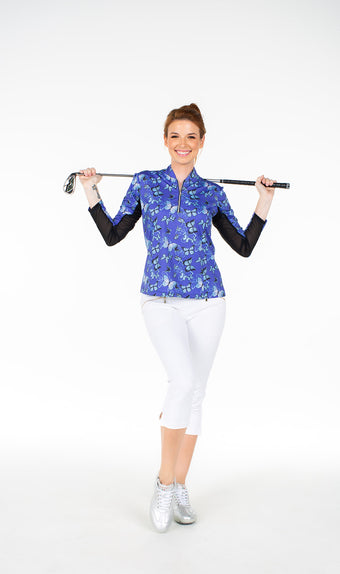 Katelyn Long Sleeved Top - Blue Butterfly - Spitfire Petite