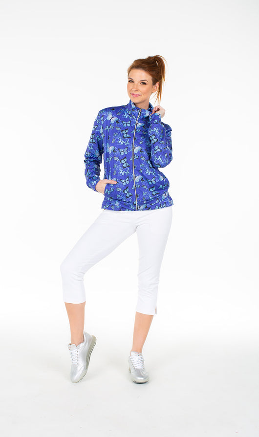 Danni Bomber Jacket - Blue Butterfly - Amy Sport