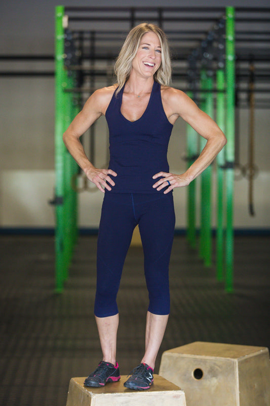 CORE PERFORMANCE CROPPED LEGGING - Black Mesh Combo and Indigo - Spitfire Petite