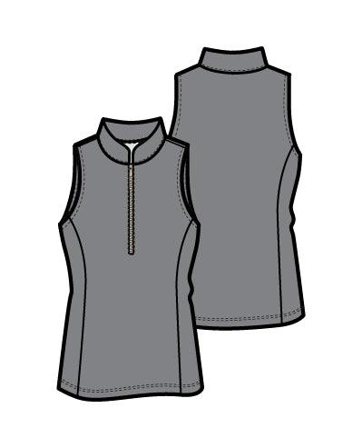 Frontline 2.0 Silver Zip Sleeveless Top - Dark Grey - Spitfire Petite