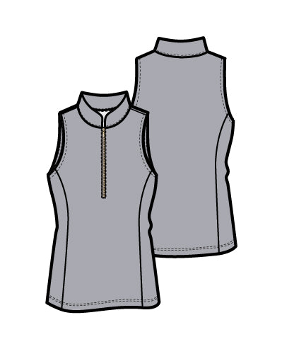 Frontline 2.0 Silver Zip Sleeveless Top - Light Grey - Spitfire Petite