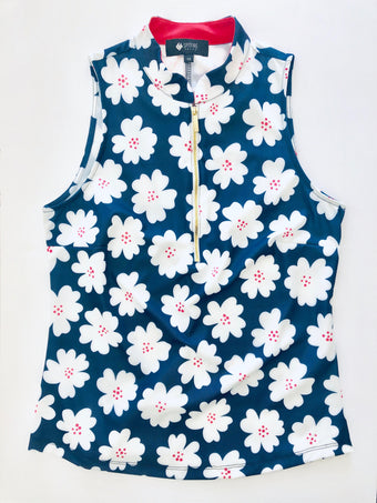 COURSE-TO-COCKTAILS SLEEVELESS PETITE TOP - Navy Daisy - Spitfire Petite