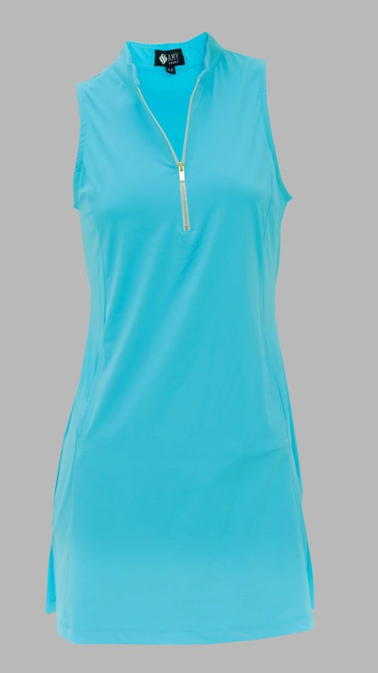 FRONTLINE GOLD ZIP SLEEVELESS DRESS - TURQUOISE - Spitfire Petite