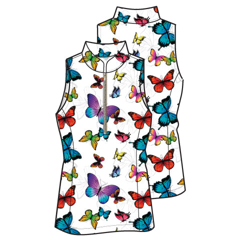 Frontline 2.0 Silver Zip Sleeveless Top - Multi Butterfly - Spitfire Petite