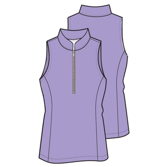 Frontline 2.0 Silver Zip Sleeveless Top - Lilac - Spitfire Petite