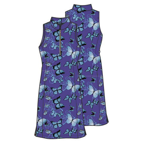 Frontline 2.0 Silver Zip Sleeveless Dress - Blue Butterfly - Spitfire Petite